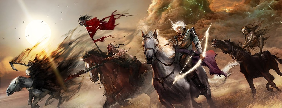 The Four Horsemen of the Apocalypse are evil. The white horse represents false doctrine. If you believe wrong, you live wrong. Holy living is the fruit of right believing. The red horse brings war and terrorism. The black horse brings poverty, famine and economic turmoil. The pale/dappled horse brings death.