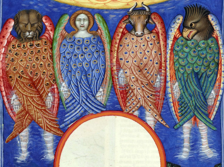 The four living creatures represent the four faces of Jesus. Gospel of Matthew (king), Gospel of Mark (ox), Gospel of Luke (man), Gospel of John (eagle).