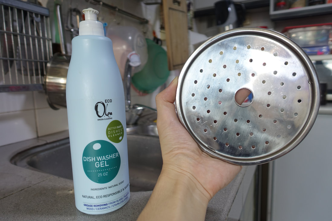 My wife Amilee and my mum tried Olea Essence's Eco Olea Dish Washer Gel and discovered that using just a small amount goes a long way and that it's able to effectively remove stubborn stains!