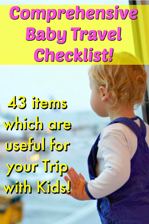 Pinterest Pinnable Image. Pin this to share our comprehensive list of baby products that will be useful to you when bringing kids overseas for vacation or holiday!