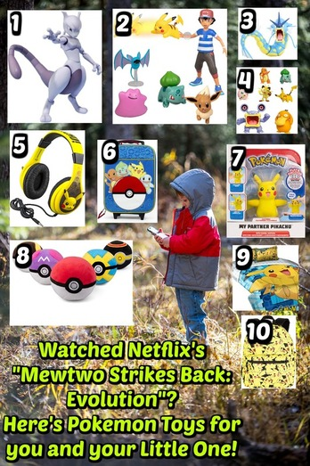 Pinterest Pinnable Image: Pokemon Mewtwo Strikes Back: Evolution on Netflix stirred up nostalgic feelings for all those who watched the classic version way back. If you or your little one likes Pokemon, here are 10 great toys and accessories to collect to keep the journey continuing long after the credits have rolled.